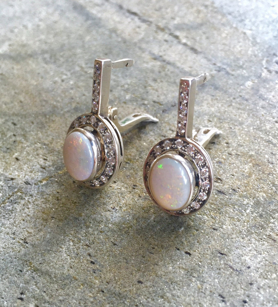 Opal Earrings, Natural Opal Earrings, Australian Opal, Natural Opal, Vintage Opal, Vintage Earrings, Antique Opal, Solid Silver, Pure Silver