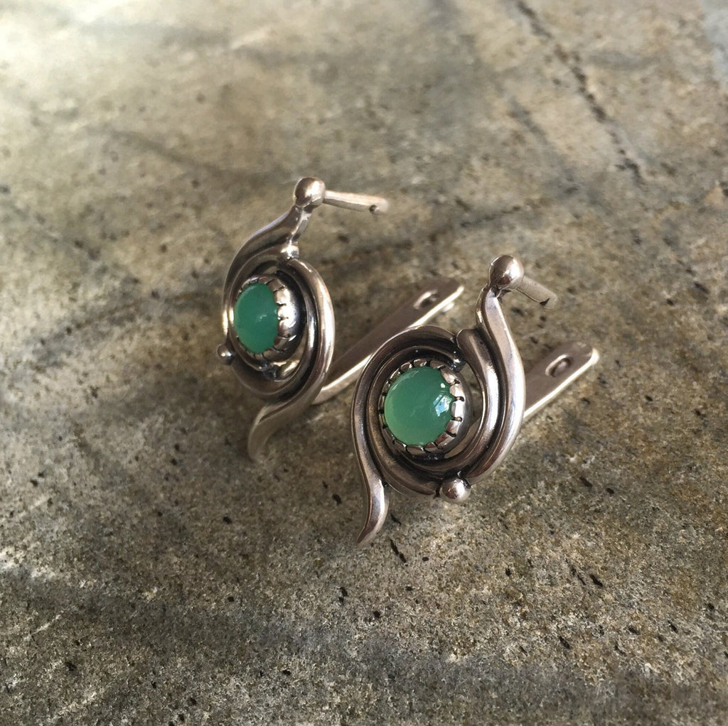 Chrysoprase Earrings, Natural Chrysoprase, Australian Chrysoprase, Vintage Earrings, May Birthstone, Real Chrysoprase, Solid Silver
