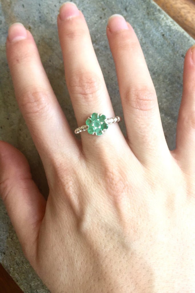 Flower Ring, Emerald Ring, Natural Emerald, Natural Emerald Ring, Vintage Rings, Vintage Emerald Ring, Pure Silver, May Birthstone Ring