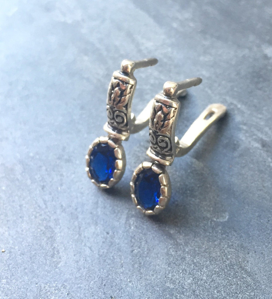 Sapphire Earrings, Blue Sapphire, Created Sapphire, 3 Carats, Vintage Earrings, Pure Silver, Solid Silver, Blue Earrings, Tribal Earrings