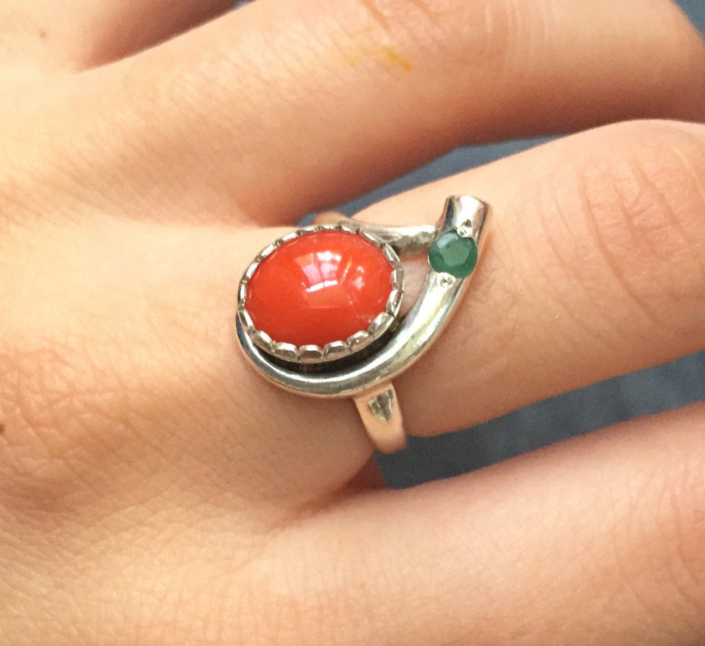 Coral Ring, Natural Coral, Red Coral, Natural Emerald, March Birthstone, March Ring, May Birthstone, Orange Coral, Real Coral, Pure Silver