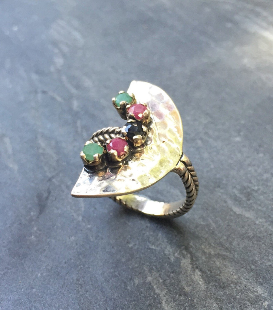 Tribal Ring, Emerald Ring, Sapphire Ring, Ruby Ring, Precious Gemstones, Birthstone Ring, May Birthstone, September Birthstone, Pure Silver
