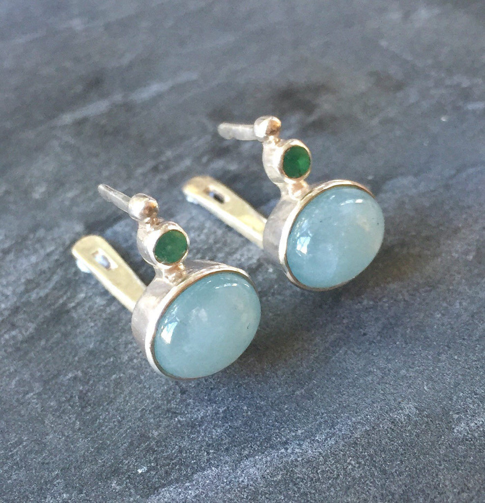 Aquamarine Earrings, Natural Aquamarine, Emerald Earrings, Natural Emerald, March Birthstone ,May Birthstone, Solid Silver, Silver Earrings