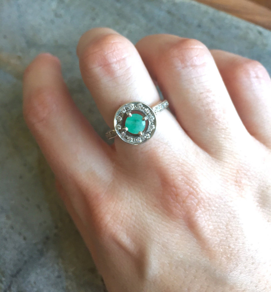 Emerald Ring, Natural Emerald, Antique Ring, Vintage Emerald Ring, May Birthstone, Antique Emerald Ring, Antique Rings, Sterling Silver Ring