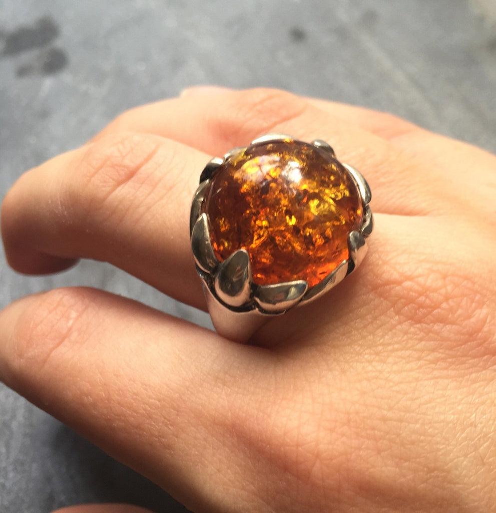 Amber Ring, Natural Amber, Vintage Rings, Antique Rings, Taurus Birthstone, Large Amber, Yellow Gemstone, Solid Silver Ring, Pure Silver