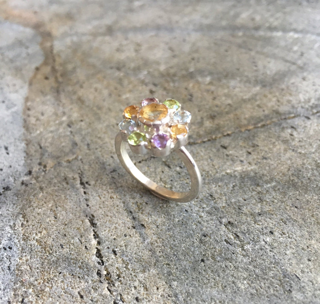 Flower Ring, Citrine Ring, Natural Stones, Topaz Ring, Birthstone Ring, Vintage Rings, Amethyst Ring, Peridot Ring, Pure Silver, Natural Gem