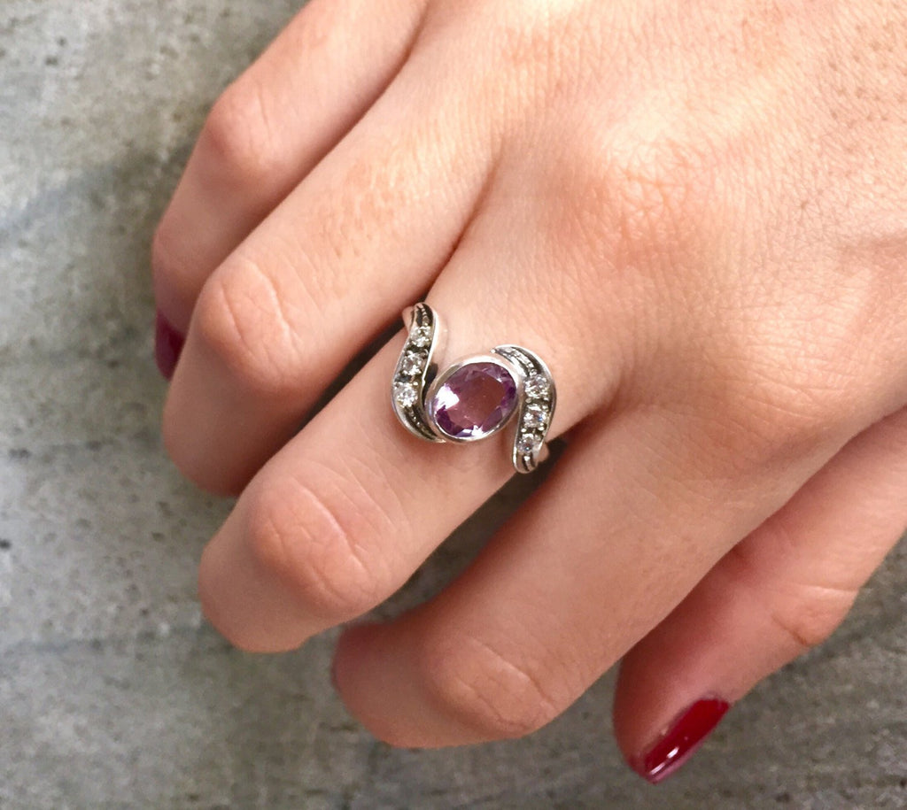 Amethyst Ring, Natural Amethyst, Vintage Amethyst Ring, February Birthstone, Vintage Rings, Antique Ring, Purple Diamond, Solid Silver Ring