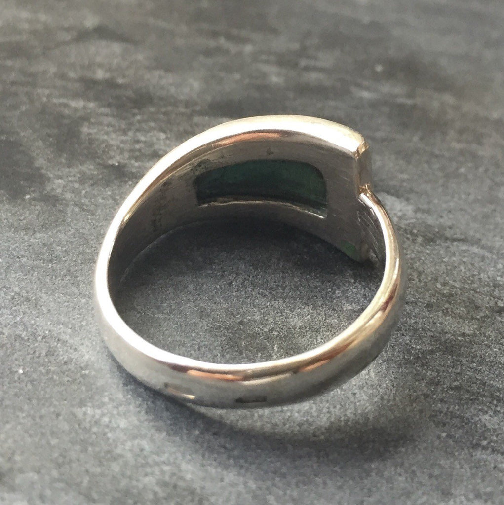 Emerald Ring, Created Emerald Ring, Green Emerald Ring, Unique Ring, Green Ring, Artistic Ring, Unique Ring Design, Silver Ring, Emerald