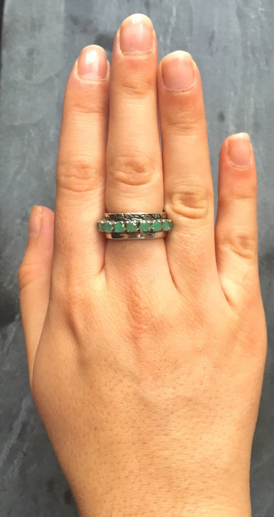 Emerald Band, Natural Emerald, 1 Carat Emerald, May Birthstone, Double Band, Half Eternity Ring, Bezel Ring, Bezel Band, Solid Silver Ring