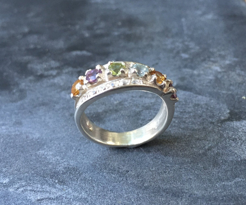 Triple Band, November Birthstone, December Birthstone, Small Size Ring, Blue Topaz Ring, Citrine Ring, Double Band, Natural Gem, Pure Silver
