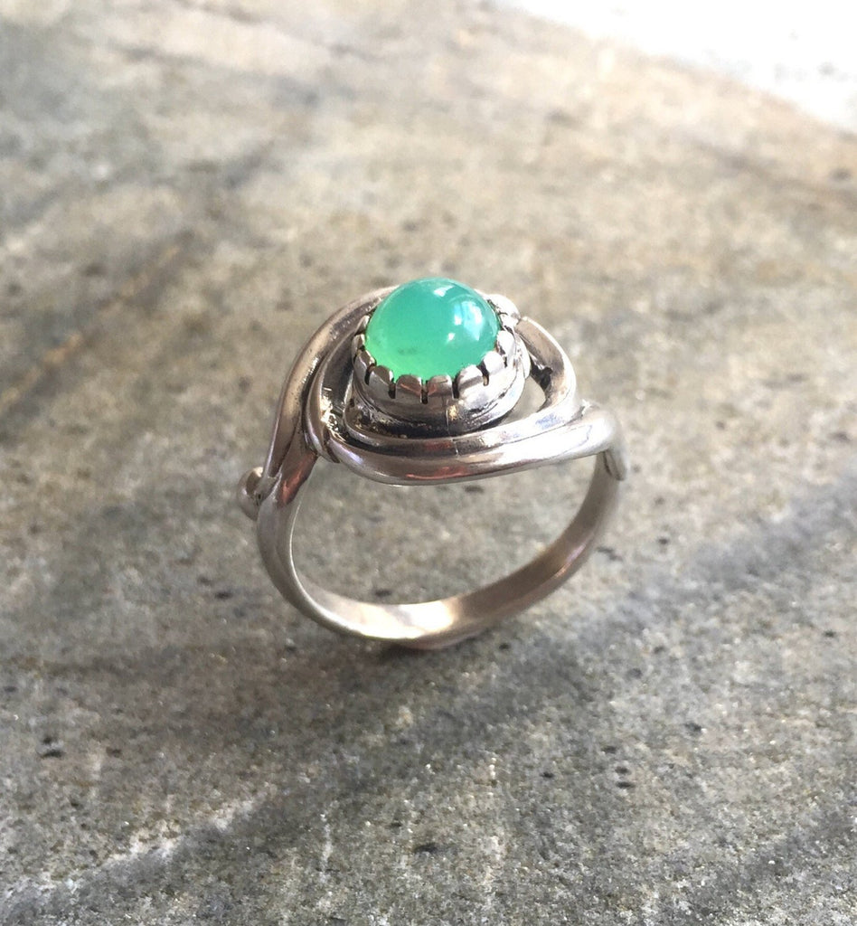 Chrysoprase Ring, Natural Chrysoprase, Australian Chrysoprase, Vintage Ring, May Birthstone, Real Chrysoprase, Vintage Design, Solid Silver