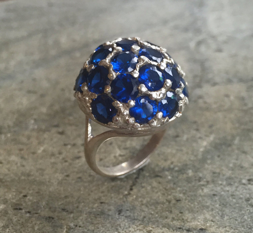 Statement Ring, Created Sapphire, Sapphire Ring, Round Sapphire Ring, Diamond Cut, Unique Ring, Blue Sapphire Ring, Sphere, Solid Silver