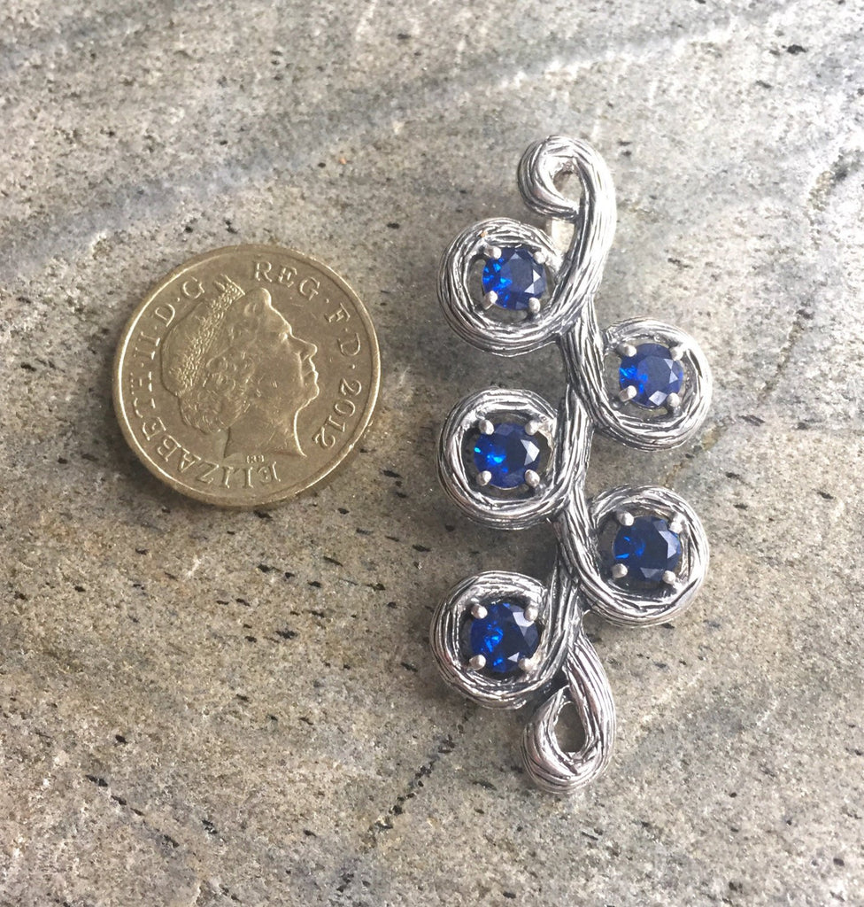 Sapphire Pendant, Long Pendant, Created Sapphire, Blue Sapphire, Leaf Pendant, Solid Silver, Silver Pendant, Blue Pendant, Sapphire, Blue