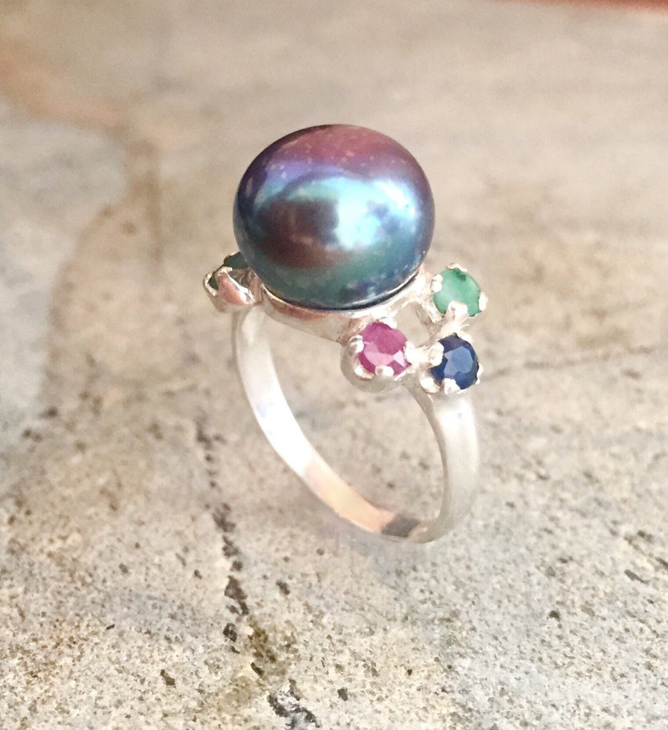Black Pearl Ring, Natural Pearl, Emerald Ring, Vintage Rings, Antique Ring, Antique Emerald Ring, Sapphire Ring, Ruby Ring, Solid Silver