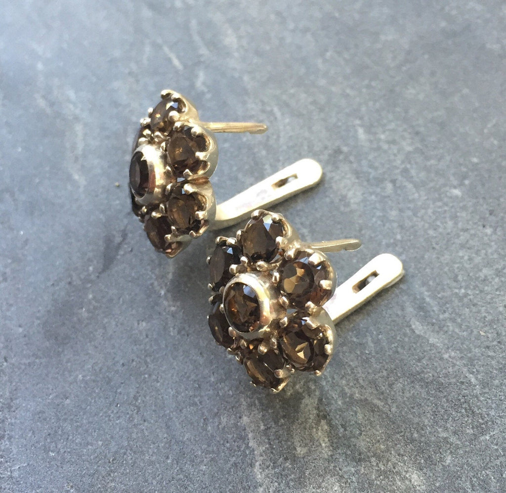 Flower Earrings, Smoky Topaz Earrings, Scorpios Birthstone, Natural Topaz, Vintage Earrings, Scorpios Earrings, Solid Silver, Pure Silver