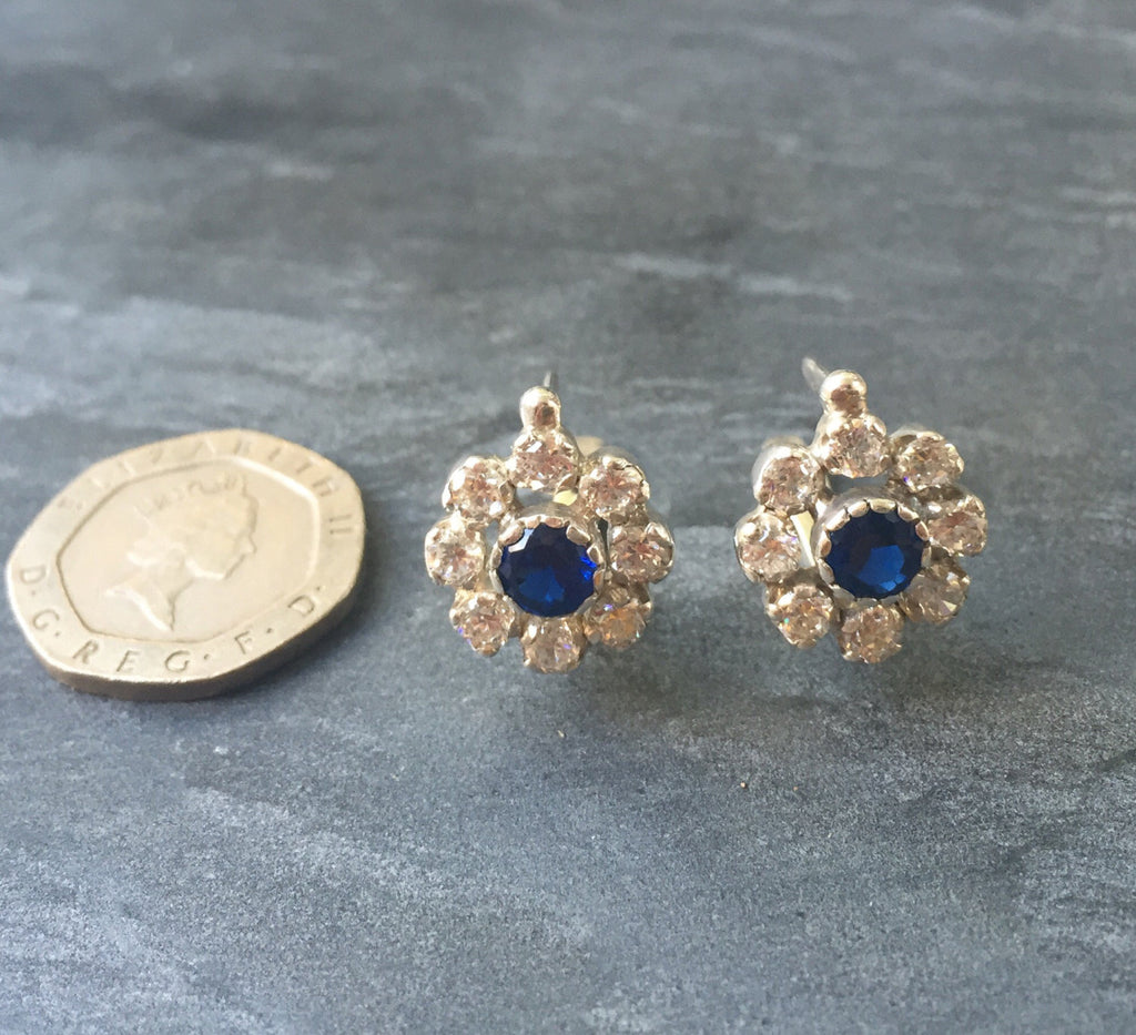 Vintage Earrings, Flower Earrings, Sapphire Earrings, Created Sapphire, CZ Diamonds, 4 Carats, Blue Sapphire, Solid Silver, Pure Silver