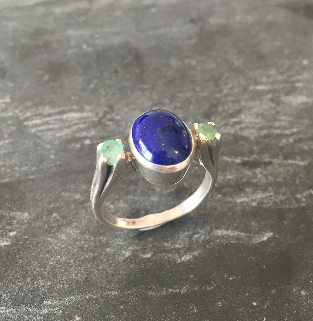 Lapis Ring, Emerald Ring, Natural Emerald, Natural Lapis, May Birthstone, Vintage Emerald Ring, Vintage Rings, Solid Silver Ring, Lapis