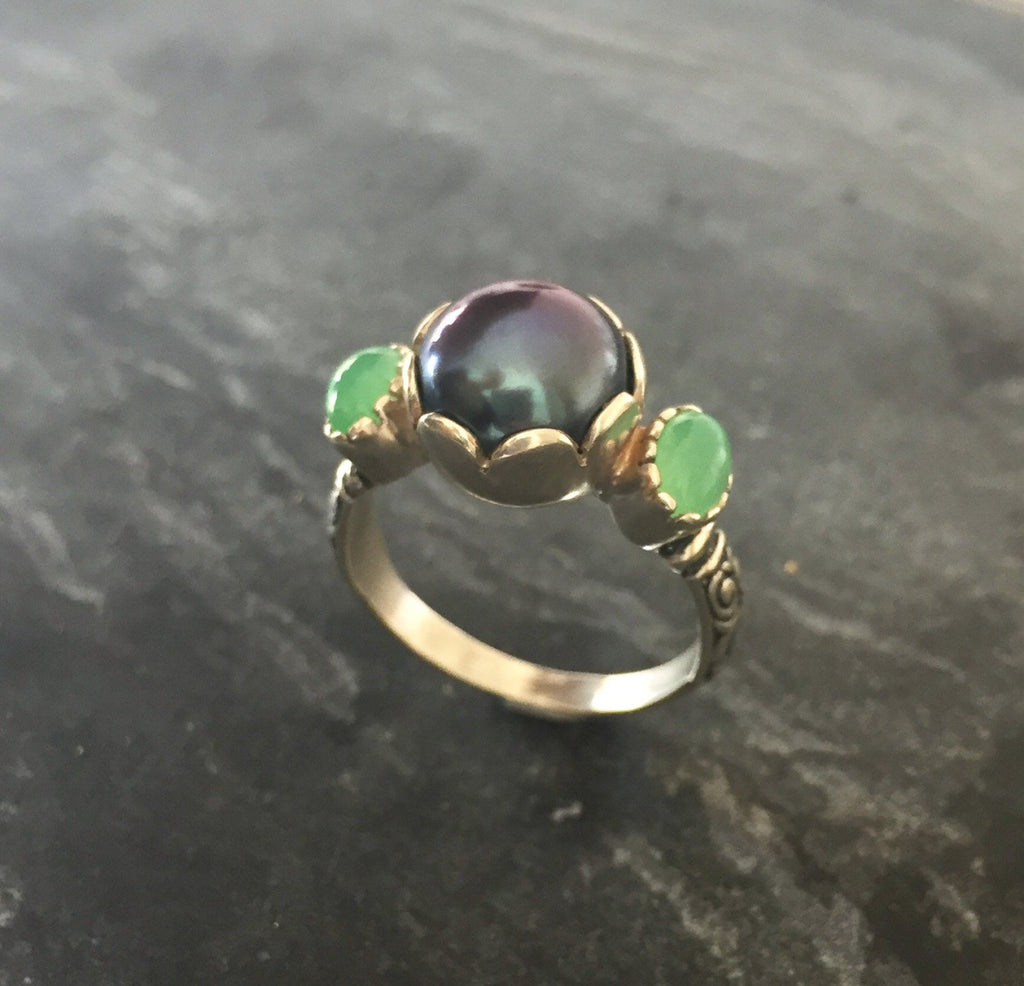 Pearl Ring, Natural Pearl Ring, Chrysoprase Ring, Natural Chrysoprase, June Birthstone, May Birthstone, Vintage Pearl Ring, Solid Silver