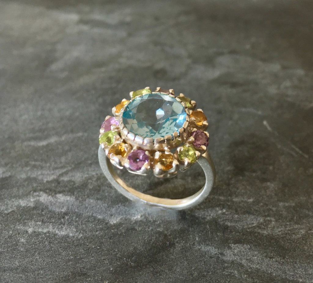 Blue Topaz Ring, Mothers Birthstone, December Birthstone, Birthstone Ring, Natural Topaz, Citrine Ring, Amethyst Ring, Peridot, Solid Silver