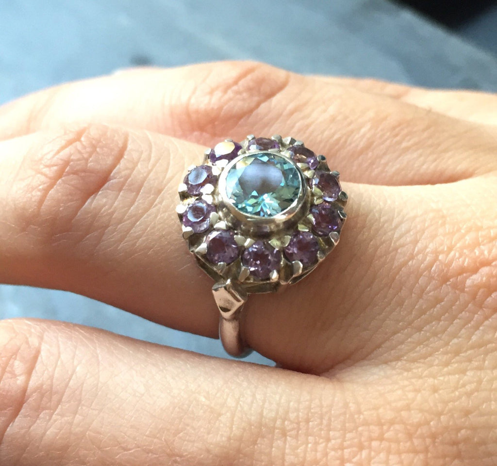 Victorian Ring, Topaz Ring, Birthstone Ring, December Birthstone, February Birthstone, Natural Blue Topaz, Natural Amethyst, 2 Carats