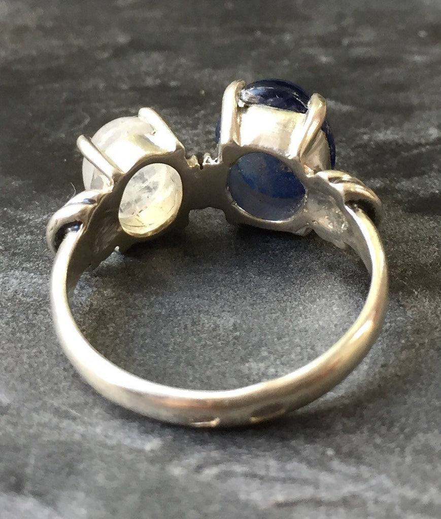 Kyanite Ring, Moonstone Ring, June Birthstone Ring, Rainbow Moonstone, Natural Moonstone, Kyanite, Vintage Ring, Solid Silver Ring