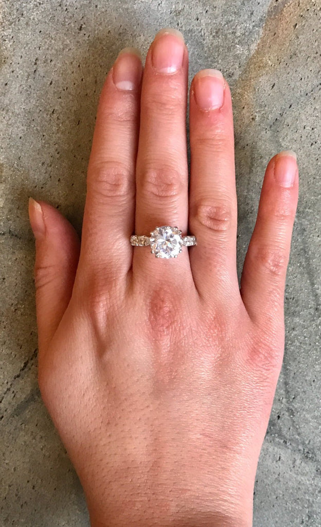 Engagement Ring, 2 carat Diamond, Created Diamond, Bridal Diamond Ring, Promise Ring, CZ Diamonds, Sparkly Ring, Solid Silver Ring, Diamonds