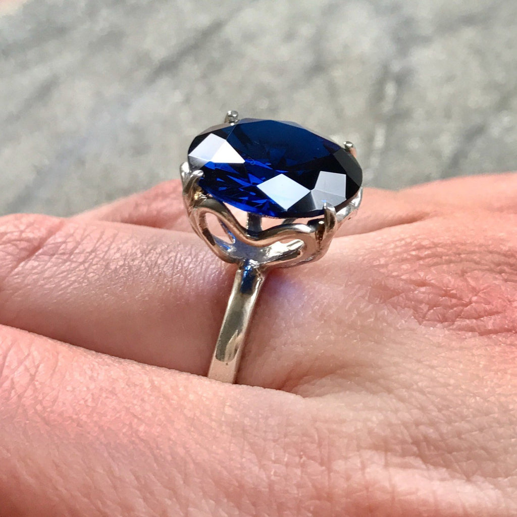 Blue Sapphire Ring, Created Sapphire, 15 Carats Sapphire, Large Sapphire Ring, Vintage Sapphire Ring, Sapphire Ring, Solid Silver Ring