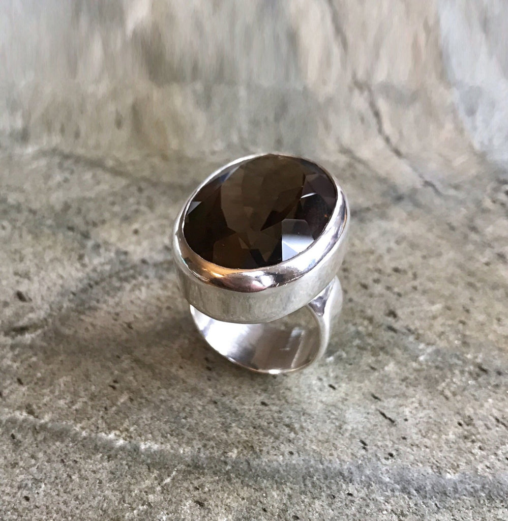 Smoky Topaz Ring, Natural Topaz, Statement Ring, Vintage Ring, Smoky Diamond, Solid Silver Ring, Huge Ring, Pure Silver, Diamond Cut, Smoky