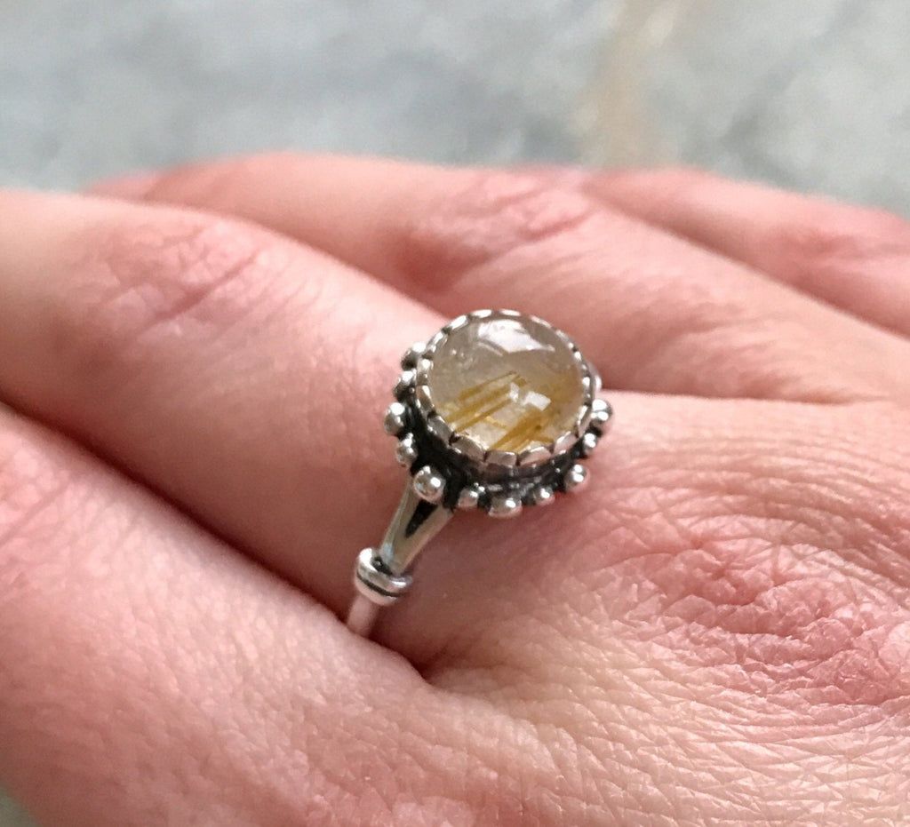 we will adjust any size free of cost Sterling Silver Ring with Rutilated Quartz