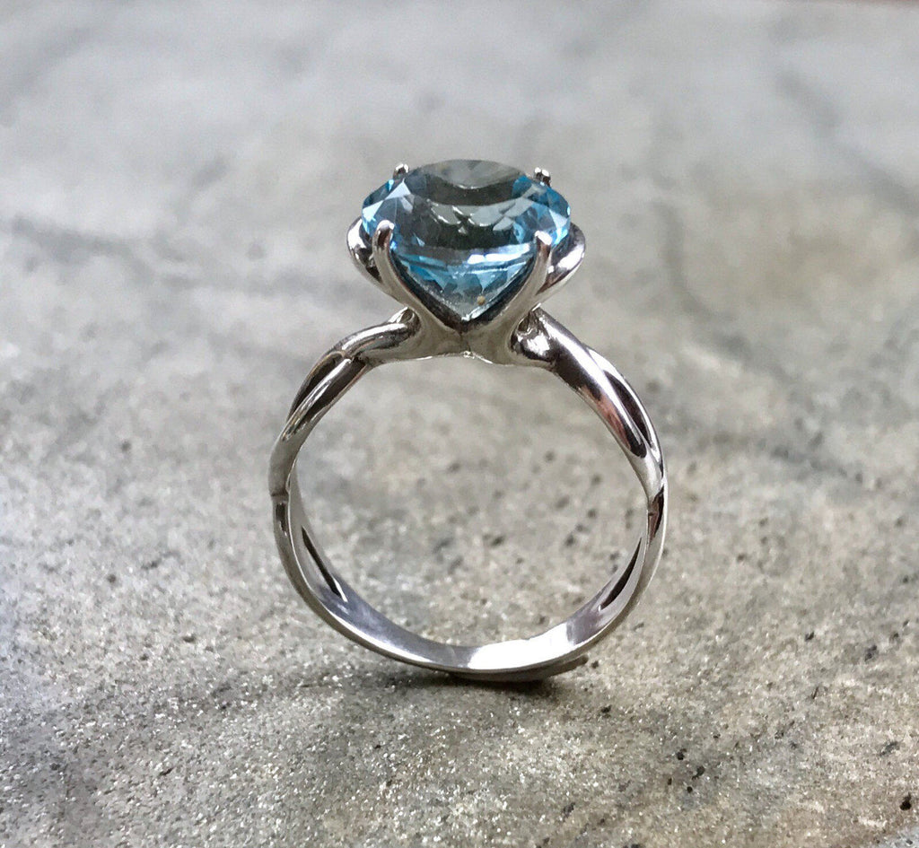 Topaz Engagement Ring, 4 Carat Ring, Natural Blue Topaz, Diamond Cut Ring, Topaz Promise Ring, Blue Topaz, Solid Silver Ring, Topaz SKY