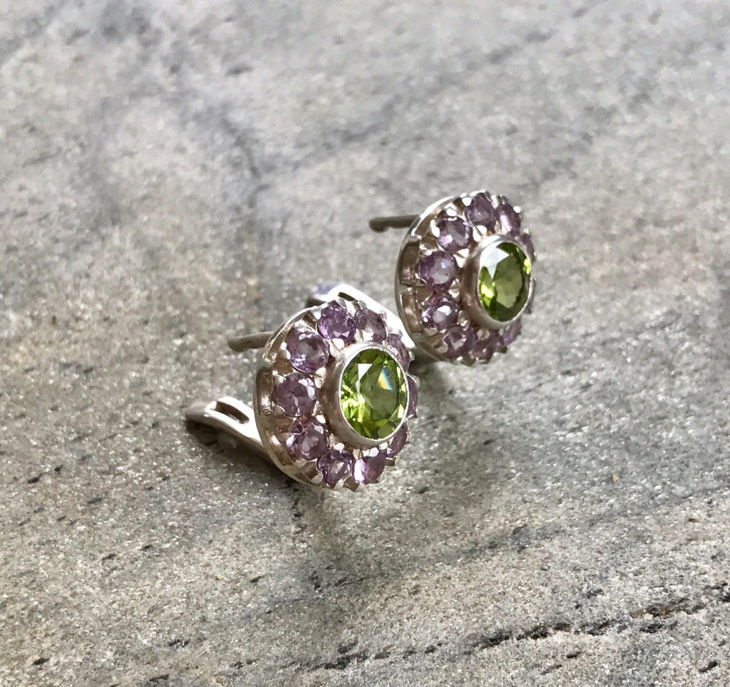 Amethyst Earrings, Peridot Earrings, Natural Stones, February Birthstone, Vintage Earrings, Victorian Earrings, August Birthstone, Peridot