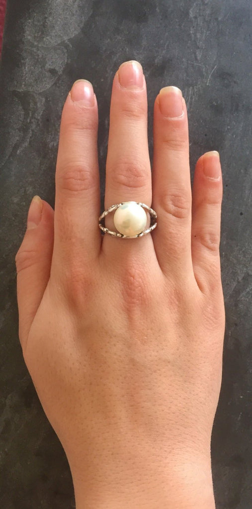 White Pearl Ring, Natural Pearl Ring, June Birthstone, Vintage Pearl Ring, Vintage Style Ring, June Ring, White Pearl, Solid Silver Ring