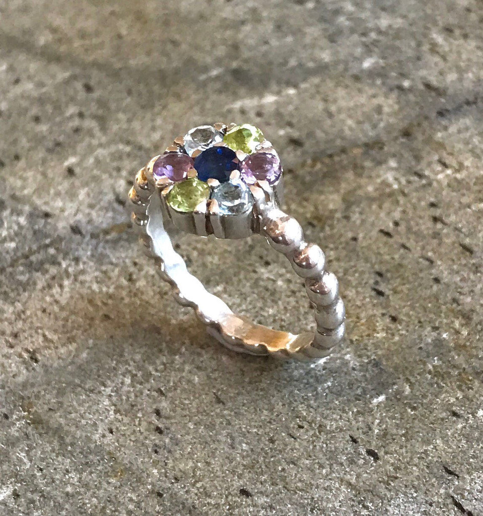 Flower Ring, Sapphire Ring, Natural Sapphire, Blue Topaz, Amethyst, Peridot, September Ring, Unique Ring, Solid Silver Ring, Sapphire