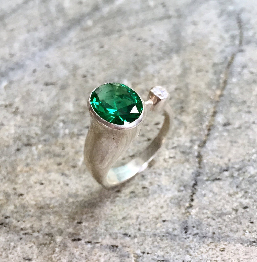 Emerald Ring, Vintage Emerald Ring, Created Emerald, CZ Diamond, Vintage Ring, Sterling Silver Ring, Emerald, Green Vintage Ring, Unique