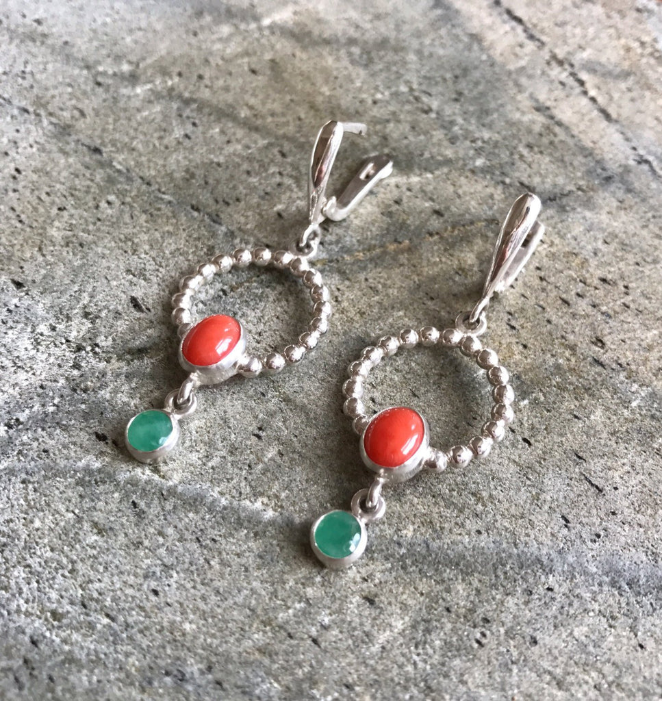 Coral Earrings, Red Coral Earrings, Natural Coral, Long Earrings, Round Earrings, Emerald Earrings, Natural Emerald, May Birthstone, Silver