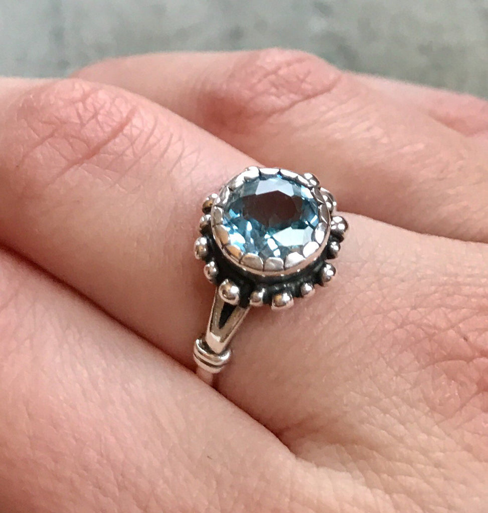 Blue Topaz Ring, Natural Topaz, December Birthstone, Vintage Rings, Vintage Topaz Ring, Blue Topaz SKY, Blue Diamond, Solid Silver Ring