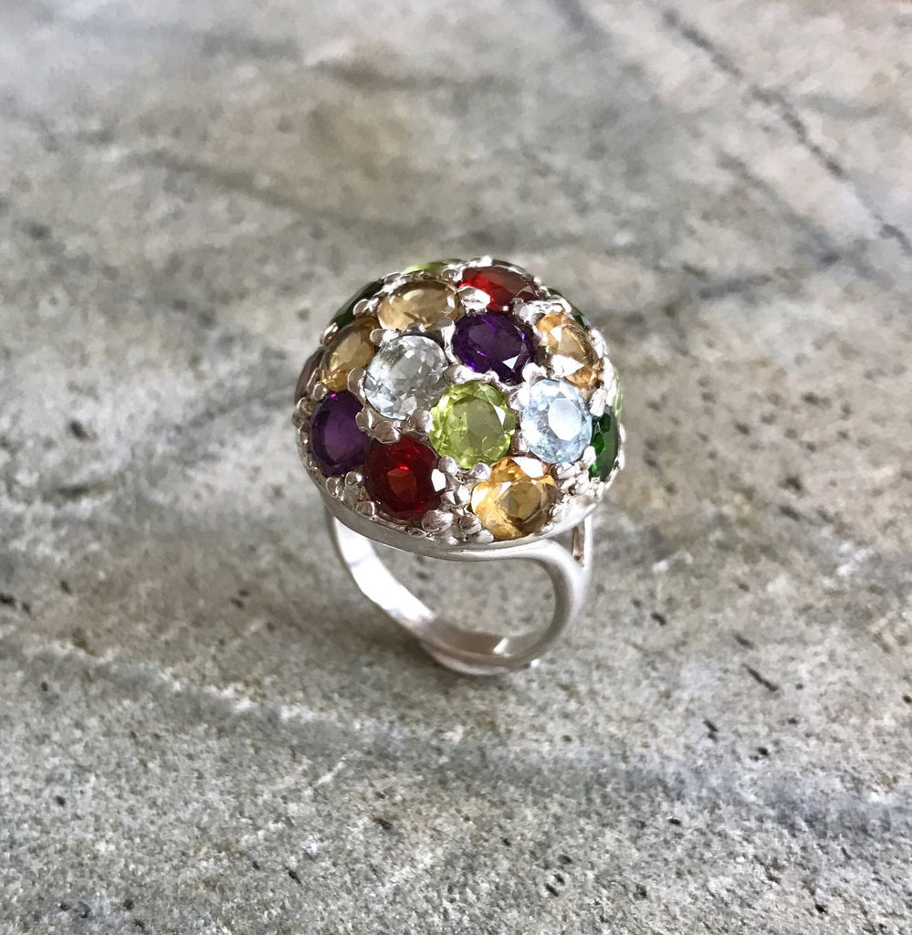Statement Ring, Natural Stones, Healing Stones, Precious Stones, Round Ring, Diamond Cut, Unique Ring, Colorful Ring, Sphere Ring, Silver