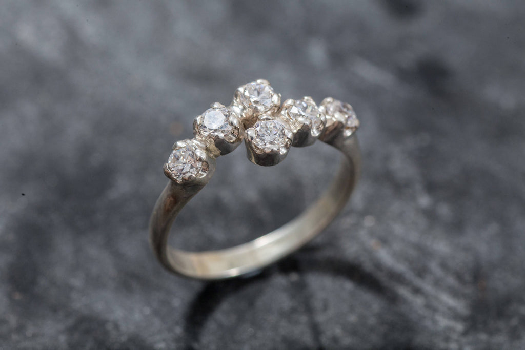 Vintage Diamond Band, 1 Carat Ring, Diamond Band, Created Diamond, 1 Carat Band, Diamond Band, Dainty Ring, Dainty Band, Solid Silver Ring
