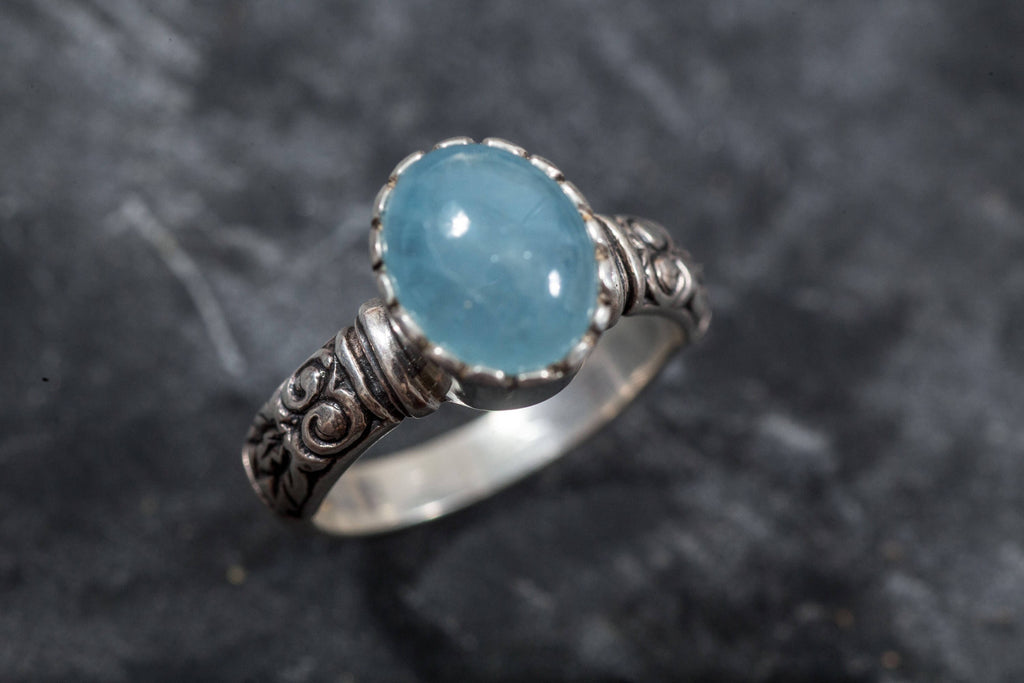 Aquamarine Ring, Natural Aquamarine, March Birthstone, Vintage Rings, Vintage Ring, Statement Ring, Solid Silver Ring, Aquamarine