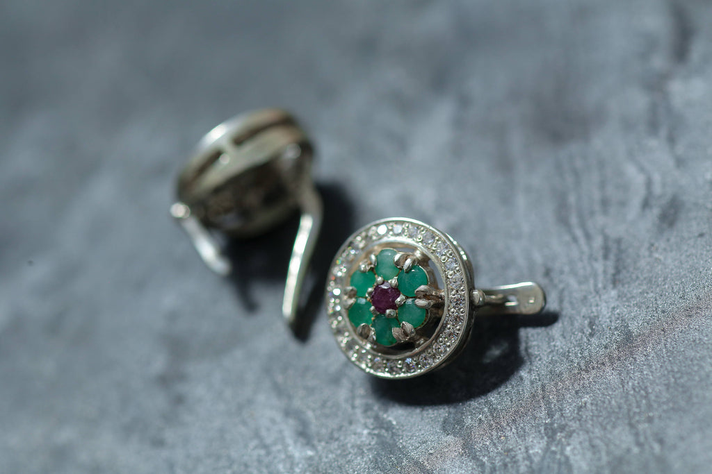 Emerald Earrings, Natural Emerald, 4 Carats Emerald, May Birthstone, Ruby Earrings, Natural Ruby, July Birthstone, Solid Silver, Emerald
