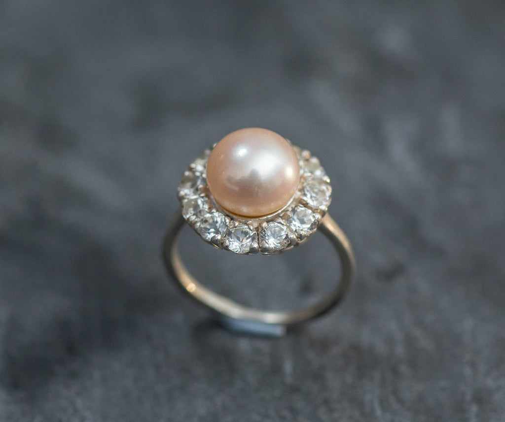 Vintage Pearl Ring, Natural Pearl, June Birthstone, Vintage Rings, Beige Pearl, Cream Pearl, CZ Diamonds, Solid Silver Ring, Real Pearl Ring