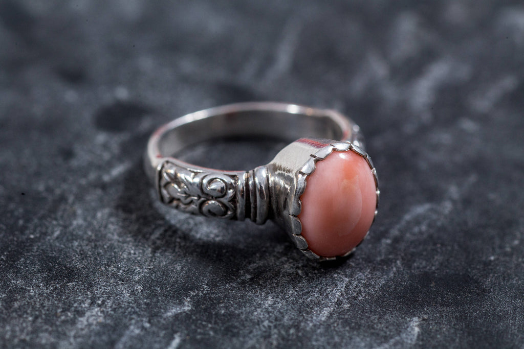 Coral Ring, Natural Coral, March Birthstone, Angel Skin Coral, Pink Coral, Vintage Rings, Pink Ring, Vintage Coral Ring, Solid Silver Ring