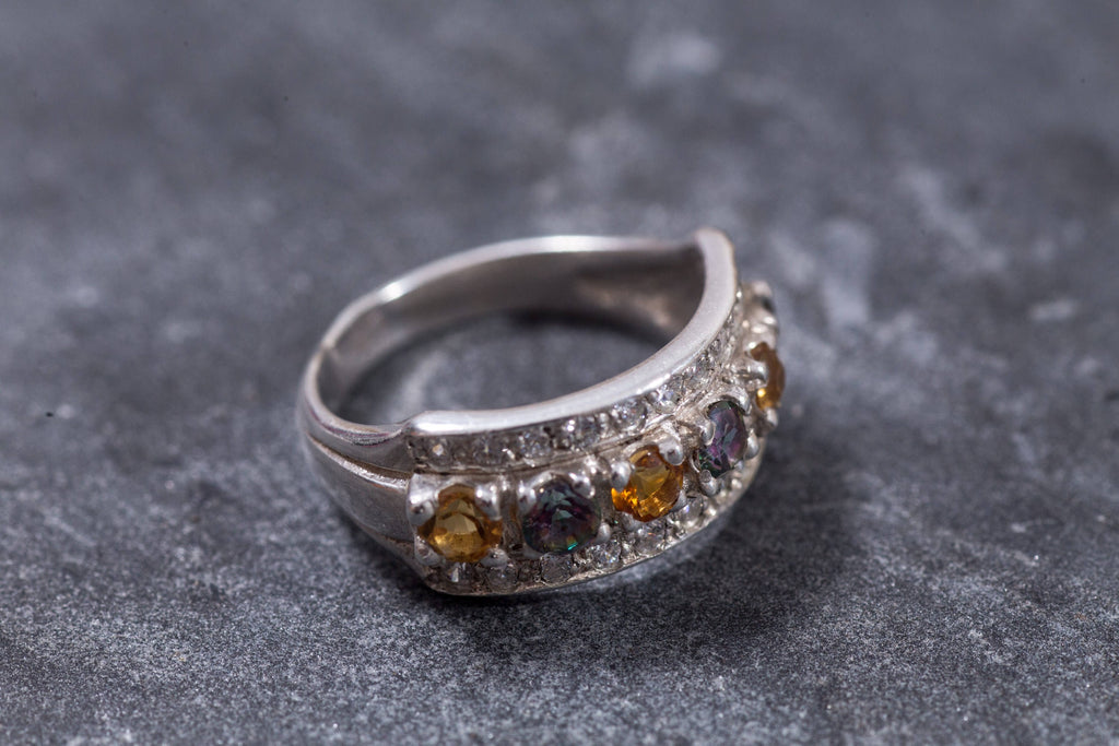 Triple Ring, Citrine Ring, Mystic Topaz Ring, Natural Citrine, Natural Topaz, CZ Diamonds, Triple Band, November Birthstone, Solid Silver
