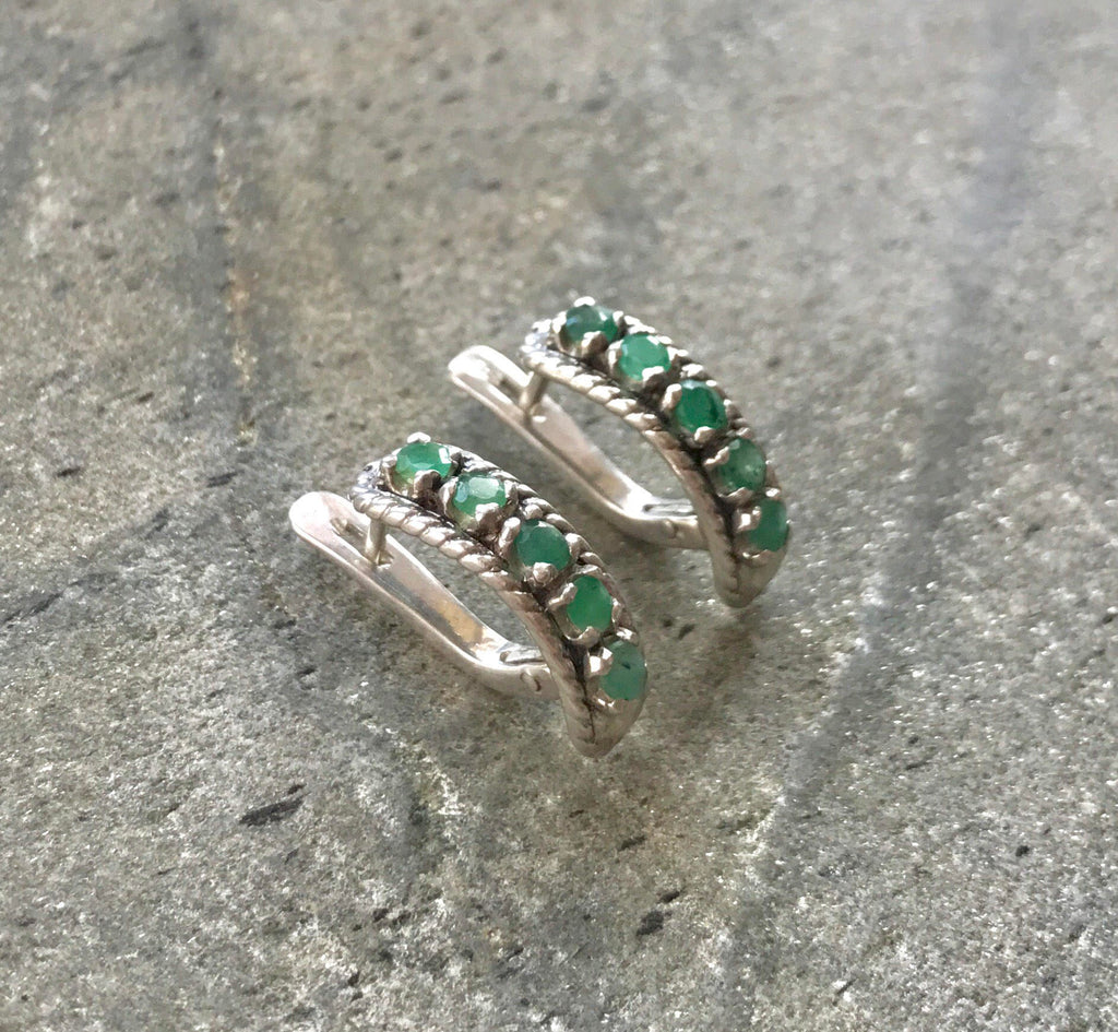 Emerald Earrings, Natural Emerald, Vintage Earrings, Natural Emerald, May Birthstone, Half Eternity Earrings, Solid Silver Earrings, Emerald
