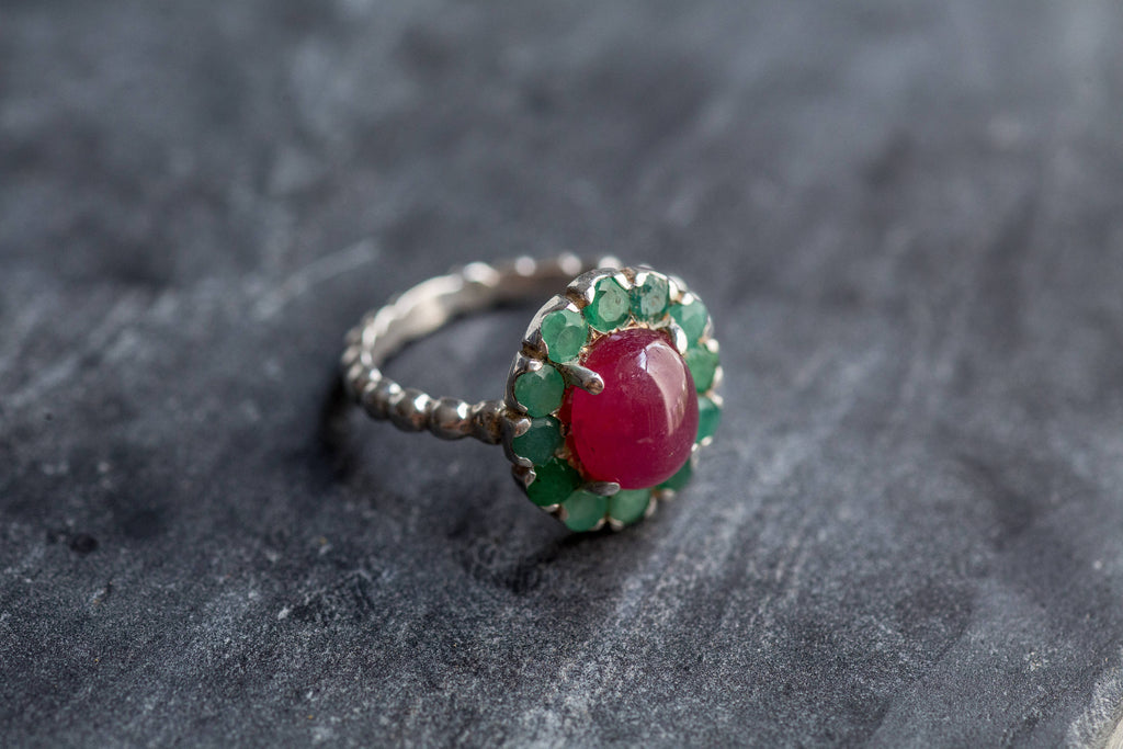 Natural Emerald Ring, Ruby Ring, Natural Ruby, Vintage Rings, May Birthstone Ring, July Birthstone, Silver Emerald Ring, Victorian Ring, 925