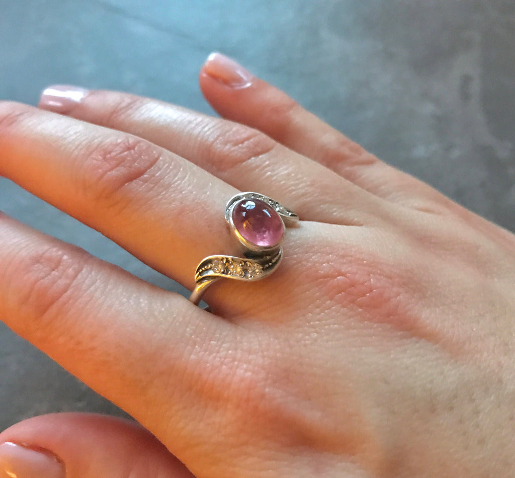 Tourmaline Ring, Pink Tourmaline, Vintage Ring, Natural Tourmaline, Pink Ring, October Birthstone, Birthstone Ring, Solid Silver, Tourmaline