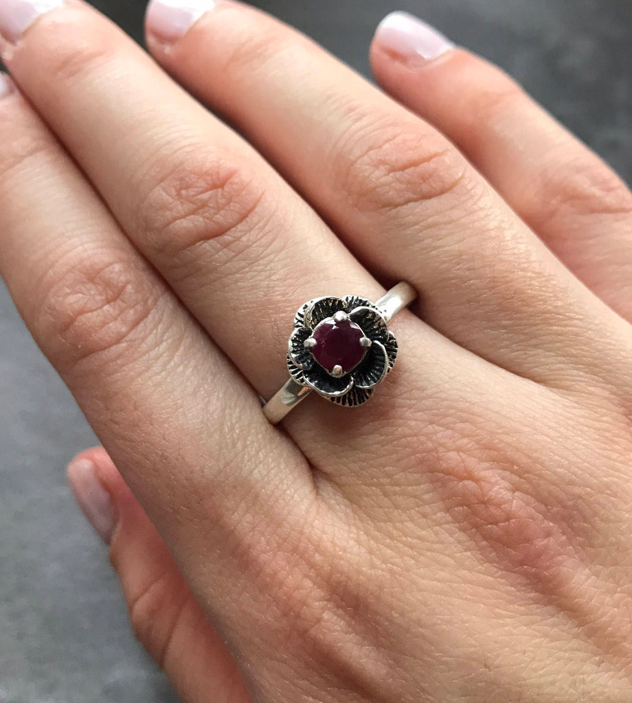 Real Ruby Ring, Flower Ring, Natural Ruby, Vintage Ruby Ring, July Birthstone Ring, Mothers Birthstone, Red Flower Ring, Solid Silver Ring