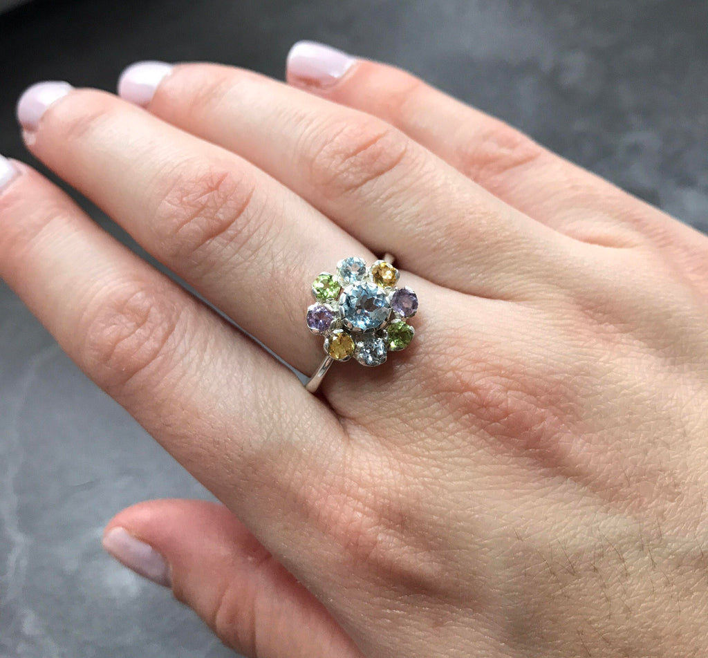 Topaz Flower Ring, Blue Topaz Ring, Natural Topaz, Mothers Ring, Vintage Silver Ring, Birthstones Ring, Citrine Ring, Peridot, Amethyst