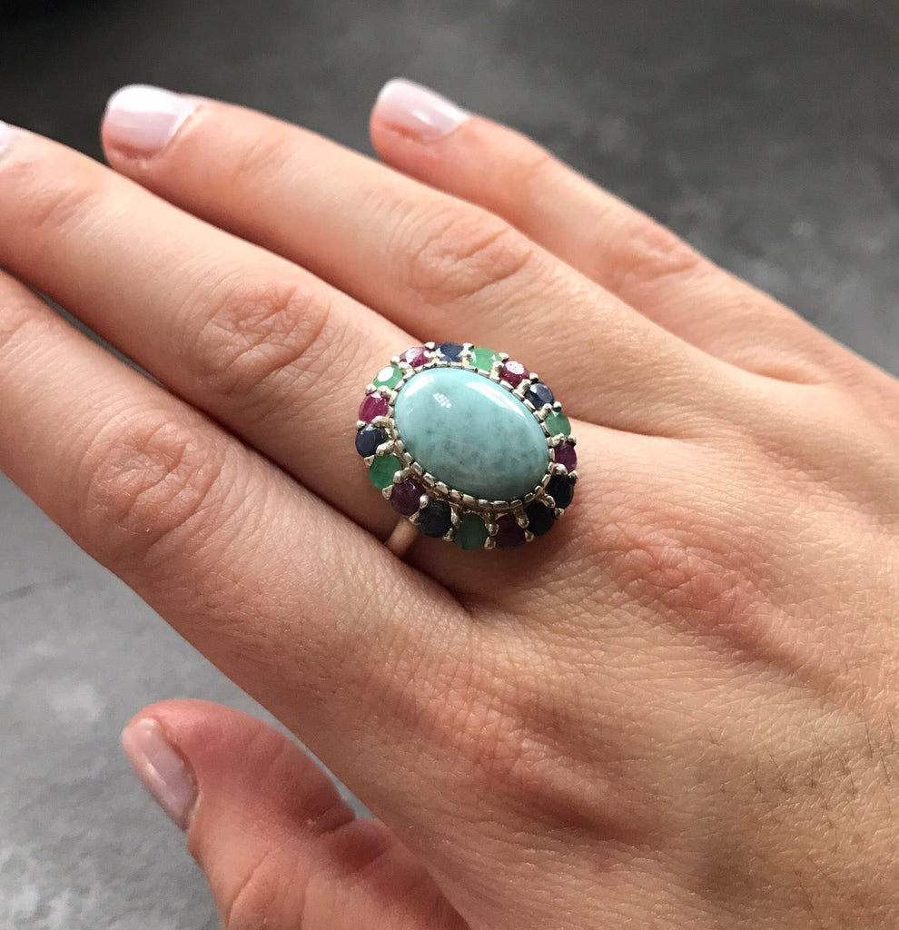 Larimar Ring, Large Larimar Ring, March Birthstone, Natural Larimar, Emerald, Ruby, Sapphire, Natural Stones, Solid Silver, Pure Silver Ring
