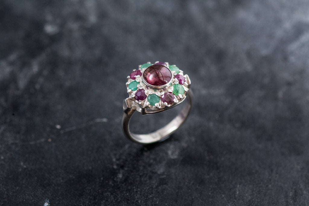 Pink Tourmaline Ring, Natural Emerald Ring, Natural Ruby Ring, Vintage Silver Ring, Victorian Ring, Pink Vintage Ring, Pink Tourmaline, Ruby